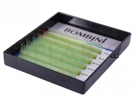 Ресницы Bombini Holi Зеленые, 6 линий, изгиб C MIX 8-13 0.10: фото