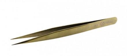 Пинцет для ресниц прямой Flario B-Gold: фото