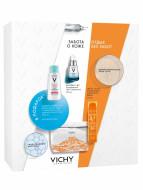 Набор Базовый уход в путешествии Vichy Capital Ideal Soleil: Освежающий спрей-вуаль для лица SPF50, 75 мл + Ежедневный гель-сыворотка Mineral89 30мл + Мицеллярная вода 100 мл: фото
